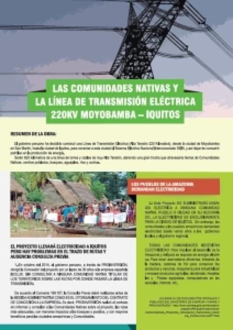 Las comunidades nativas y la línea de transmisión eléctroca 220KV Moyobamba-Iquitos