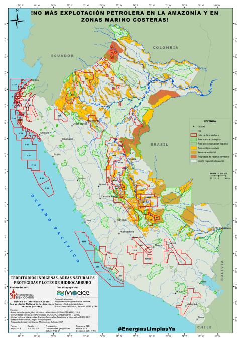 Mapa de impactos de lotes petroleros en Perú