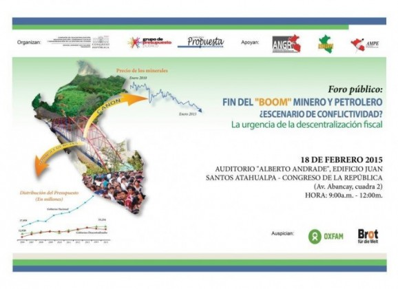 """Foro Público """"Fin del boom minero y petrolero: ¿Escenario de conflictividad?"""""""