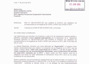 Organizaciones de cooperación internacional envían carta a APCI