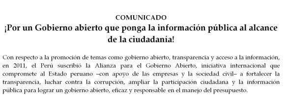 ¡Por un Gobierno abierto que ponga la información pública al alcance de la ciudadanía!