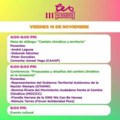 Hoy viernes 16: Conferencia «Propuestas y desafíos del cambio climático en la Amazonia (Ingreso libre)