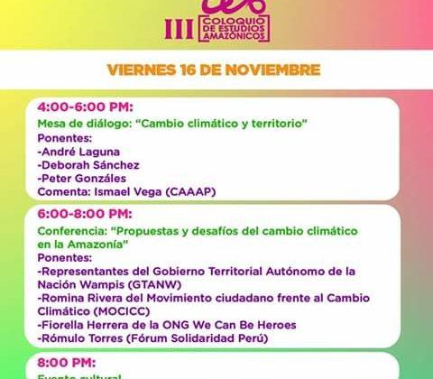 """Hoy viernes 16: Conferencia """"Propuestas y desafíos del cambio climático en la Amazonia (Ingreso libre)"""