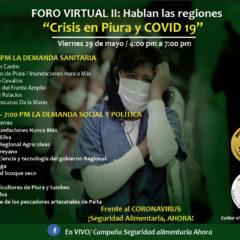 Desde Piura, Foro virtual abierto expondrá la real situación ante la pandemia (viernes 29 de mayo, 4 pm.)