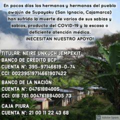 ALERTA: La segunda ola de Covid ya está en el pueblo Awajún de supayaku – San Ignacio. APORTA TU SOLIDARIDAD URGENTE